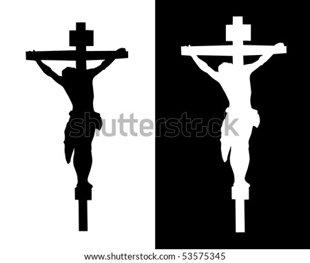 Crucifixion silhouette on a white and black background - stock vector