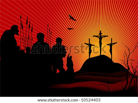 Crucifixion.The three crosses and people around. Vector illustration. - stock vector
