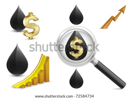 Crude oil price. Growth Chart with crude oil and dollar sign on background. Magnifying glass - stock vector