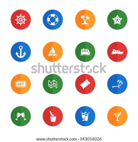 Cruise  flat icons for media