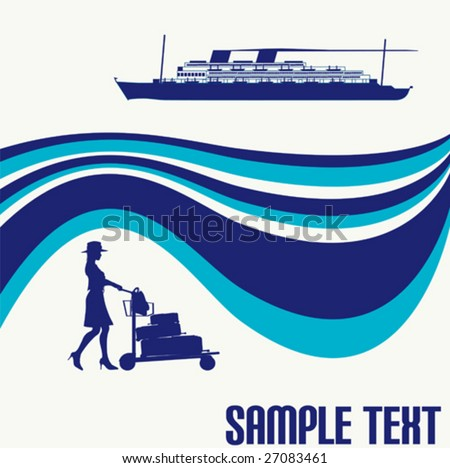 Cruise Liner Flyer - stock vector