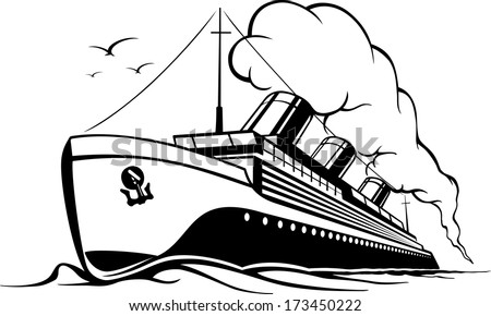 cruise liner in retro style steamer with smoke in the sea voyage, vector illustration - stock vector