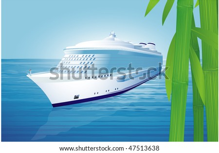 Cruise liner. Vector illustration. - stock vector