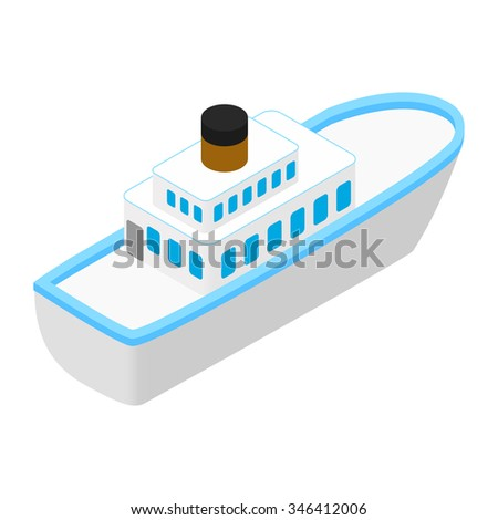 Cruise sea ship isometric 3d icon isolated on white background - stock vector