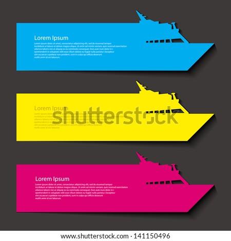 Cruise ship banners - vector illustration - stock vector