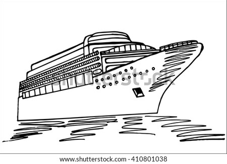 Cruise Ship Doodle Style Hand Drawing Stock Vector - Draw a cruise ship