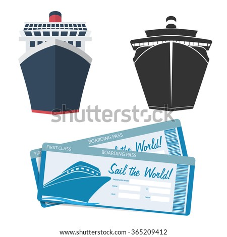 Cruise ship icon and tickets - stock vector