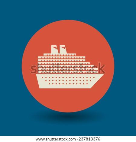 Cruise Ship icon or sign, vector illustration - stock vector