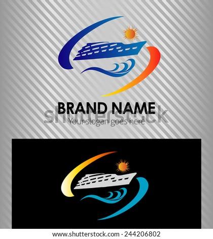 Cruise Ship sunny waves logo vector icon  - stock vector
