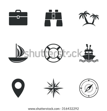 Cruise trip, ship and yacht icons. Travel, cocktails and palm trees signs. Sunglasses, windrose and swimming symbols. Flat icons on white. Vector - stock vector
