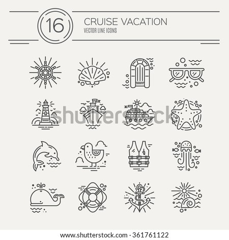 Cruise vacation icons made in trendy line style vector. Summer adventure emblem. Marine symbols. Nautical design elements isolated on background. Labels for maritime company or cruise ship. - stock vector