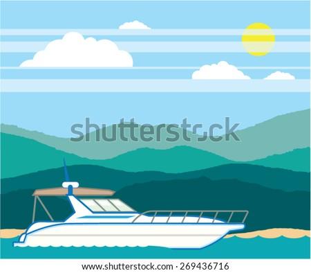 Cruiser Boat vector landscape shore - stock vector