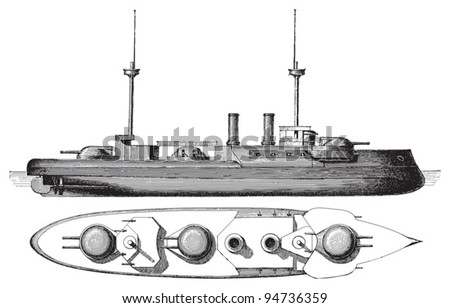 Cruiser Brandenburg (Germany) / vintage illustration from Meyers Konversations-Lexikon 1897 - stock vector