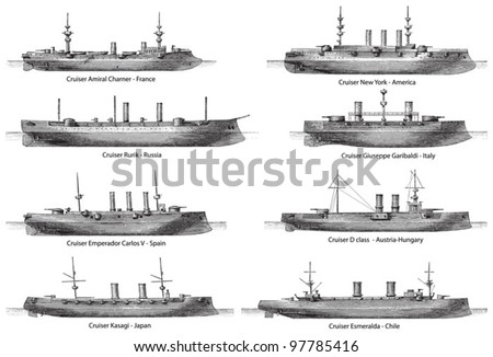 Cruiser collection (with name and country) / vintage illustration from Meyers Konversations-Lexikon 1897 - stock vector