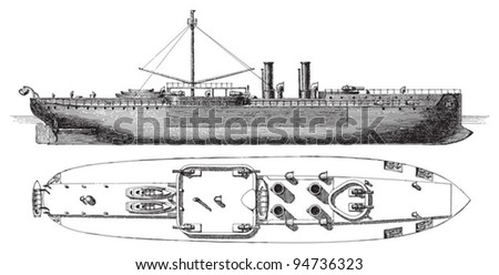Cruiser Sachsen (Germany) / vintage illustration from Meyers Konversations-Lexikon 1897 - stock vector