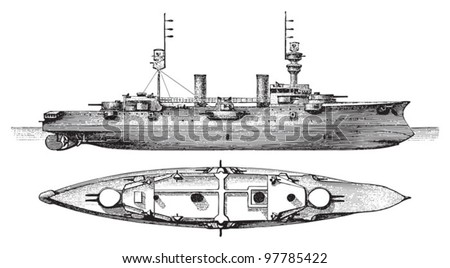 Cruiser SMS Furst Bismarck (Germany) / vintage illustration from Meyers Konversations-Lexikon 1897 - stock vector