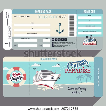 Cruises to Paradise. Cruise ship boarding pass flat graphic design template. Face and back side of ticket - stock vector