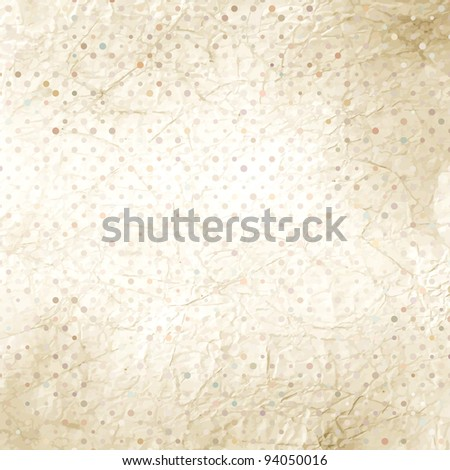 Crumpled old paper with colorful dots. EPS 8 vector file included - stock vector