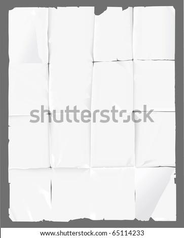 crumpled paper - stock vector