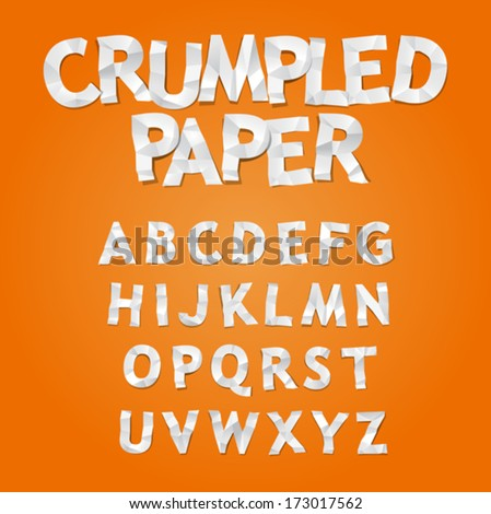 Crumpled Paper Alphabet, vector - stock vector