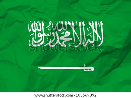Crumpled paper Saudi Arabia flag textured background. Vector illustration.