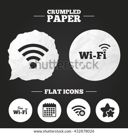 Crumpled paper speech bubble. Free Wifi Wireless Network icons. Wi-fi zone locked symbols. Password protected Wi-fi sign. Paper button. Vector - stock vector