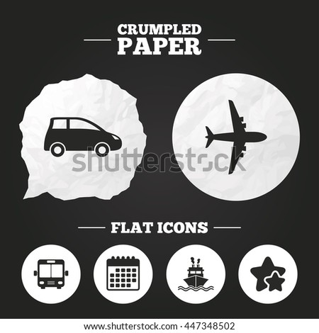 Crumpled paper speech bubble. Transport icons. Car, Airplane, Public bus and Ship signs. Shipping delivery symbol. Air mail delivery sign. Paper button. Vector - stock vector