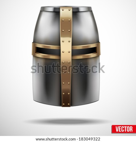 Crusader Knight's Helmet. Metallic protection. Vector Illustration, editable and isolated on background. - stock vector