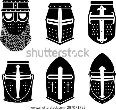 Crusader Warrior Great Helm - stock vector