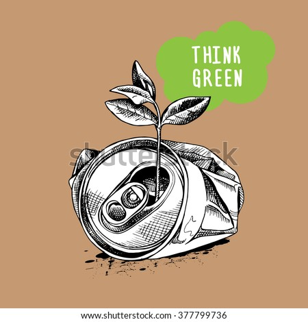 crushed can clipart. crushed aluminum can and sprig. vector illustration. clipart