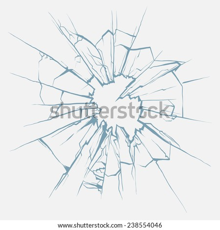 Crushed glass hand drawn, vector illustration - stock vector