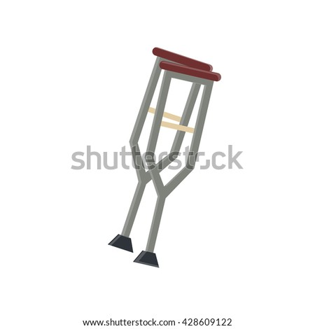 Crutch flat icon in vintage color theme illustration object
