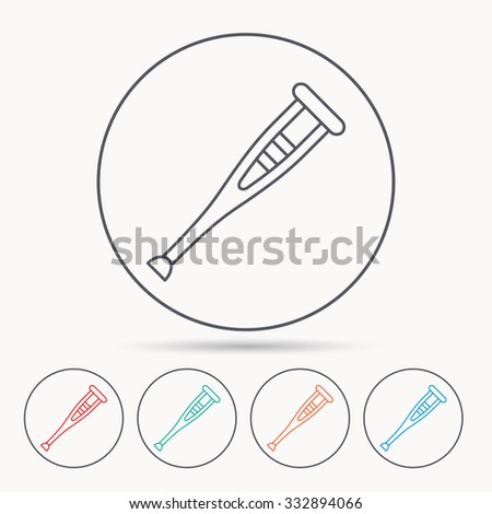 Crutch icon. Orthopedic therapy sign. Medical care equipment symbol. Linear circle icons. - stock vector