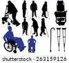 crutches canes wheelchairs vector silhouettes - stock vector