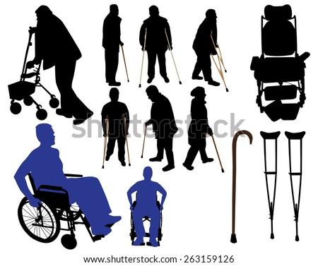 crutches canes wheelchairs vector silhouettes - stock vector