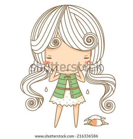 Cry Girl - stock vector