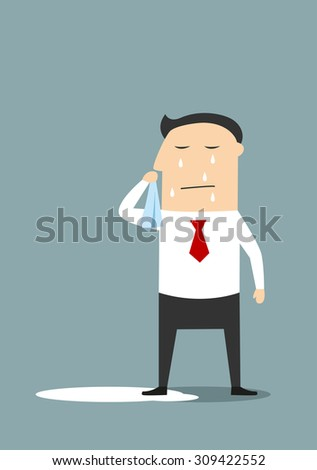Crying businessman standing in a pool of his tears, for depression or negative emotions concept. Cartoon flat style - stock vector