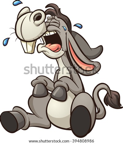 Crying cartoon donkey. Vector clip art illustration with simple gradients. All in a single layer. - stock vector