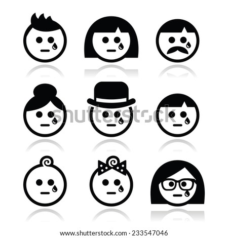Crying people faces - man, woman, baby icons set - stock vector