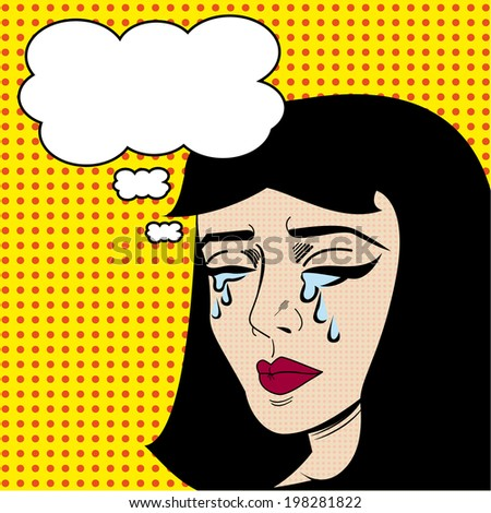 Crying Pop Art Lady