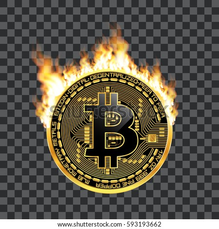 Crypto Currency Golden Coin With Black Lackered Bitcoin Symbol On Obverse Surrounded By Realistic Flame And