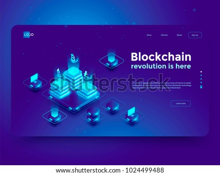 Cryptocurrency and blockchain isometric composition with people, analysts and managers working on crypto start up. Isometric vector illustration.