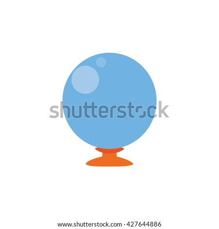 crystal ball isolated over white background , flat design