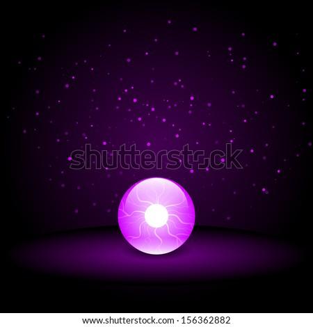 Crystal Ball on Dark Background - stock vector