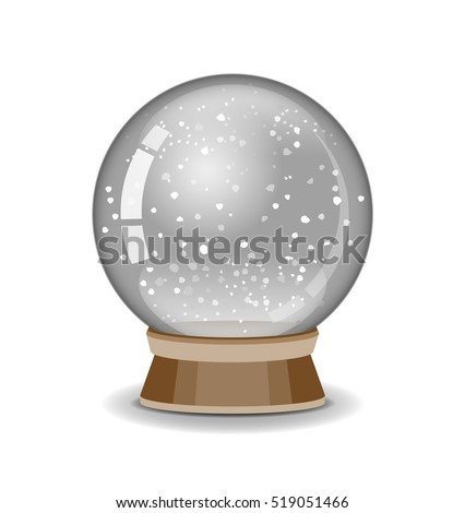 Crystal ball. Snowglobe vector illustration. Empty snow globe. 3d Sphere. Transparent glass object. Vector EPS 10.