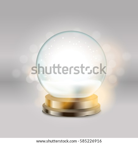 Crystal ball with snowman vector illustration. Christmas snow ball illustration