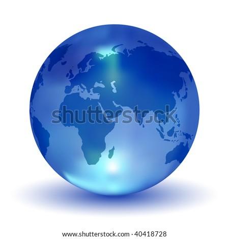 Crystal Blue Earth Globe (Vector) - stock vector