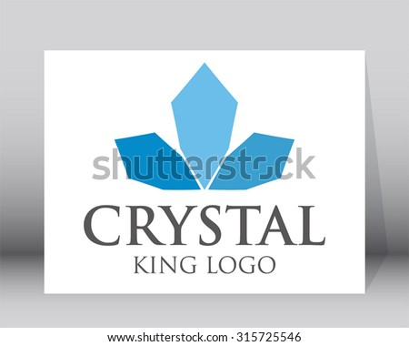Crystal crown blue glass king abstract vector logo design template business iced cool icon company identity symbol concept - stock vector