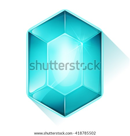Crystal Gem Icon For Game Ui/ Illustration of a beautiful glossy and bright cartoon crystal gemstone, blue colored, for jewel imagery and assets in game user interface - stock vector