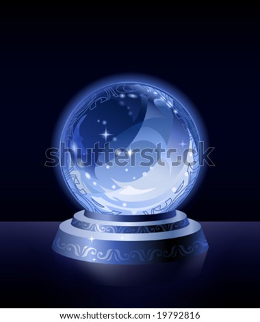 Crystal scrying ball (more fantastic version is in my gallery) - stock vector